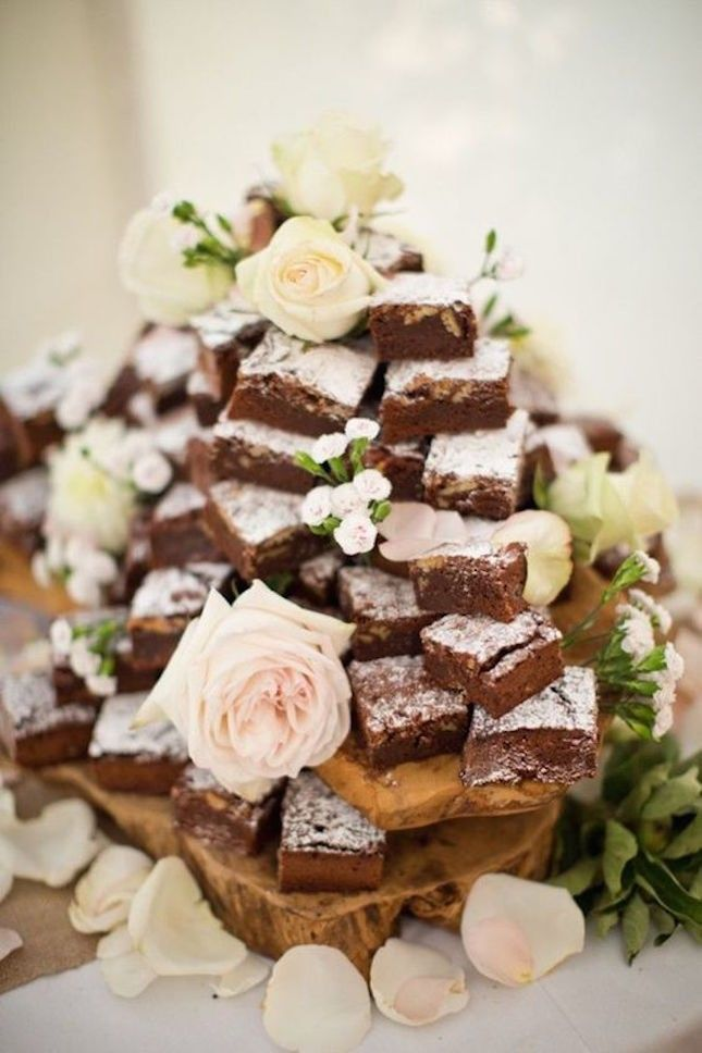 Go non-traditional for your wedding cake option + make a brownie tower.