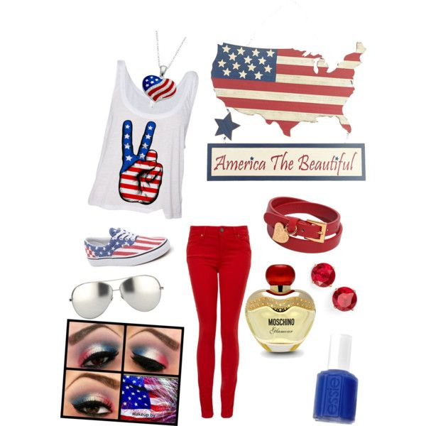 4th of July: Cookout Outfit by cupid-de-locke on Polyvore featuring polyvore fashion style Paige Denim Vans Valentino Anne Klein Linda Farrow Moschino Essie