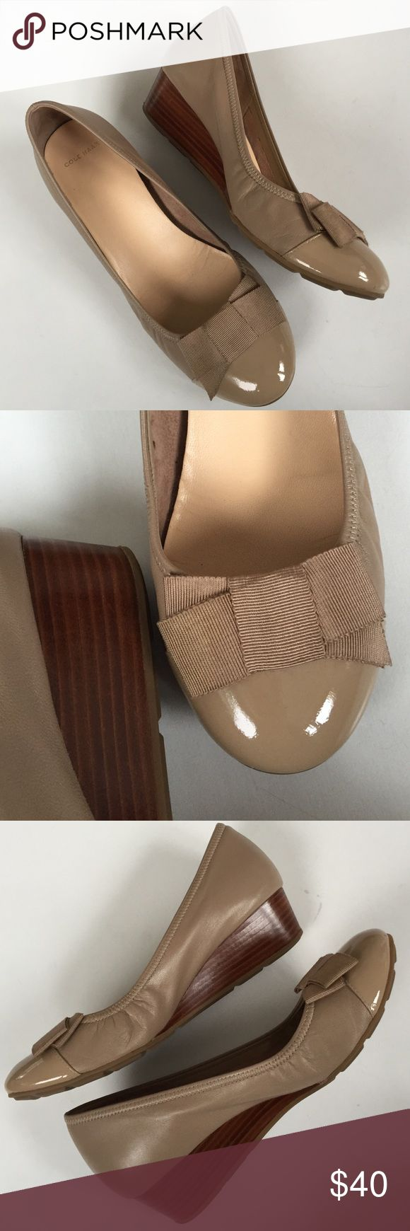 """EUC Cole Haan (Nike Air) leather shoes Excellent condition; Beautiful taupe leather (toe area is patent leather) with 1 1/2"""" wedge heel. Tonal grosgrain bow on toe. Nike Air Technology for comfort; Smoke-free/pet-free home. Cole Haan Shoes"""