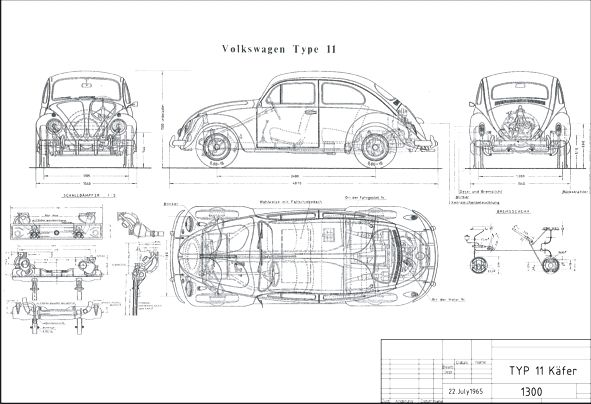 A3 Volkswagen Transporter Blue Print Cutaway Drawing Wall Poster Picture Print