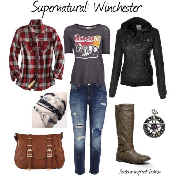 """""""Supernatural: Winchester Inspired Outfit"""" by fandom-inspired-fashion on Polyvore. Inspired by the Winchester brothers and their classic clothing choices. A classic rock tee is layered with a flannel shirt and a heavy leather jacket. Matched with distressed jeans and sturdy boots for happy hunting with Sam and Dean. Symbolic charms/jewelry and a messenger bag will make sure you are ready for any situation."""
