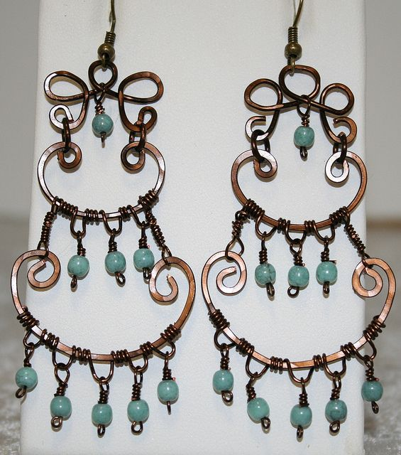 Wire Wrapped Earrings, via Flickr.