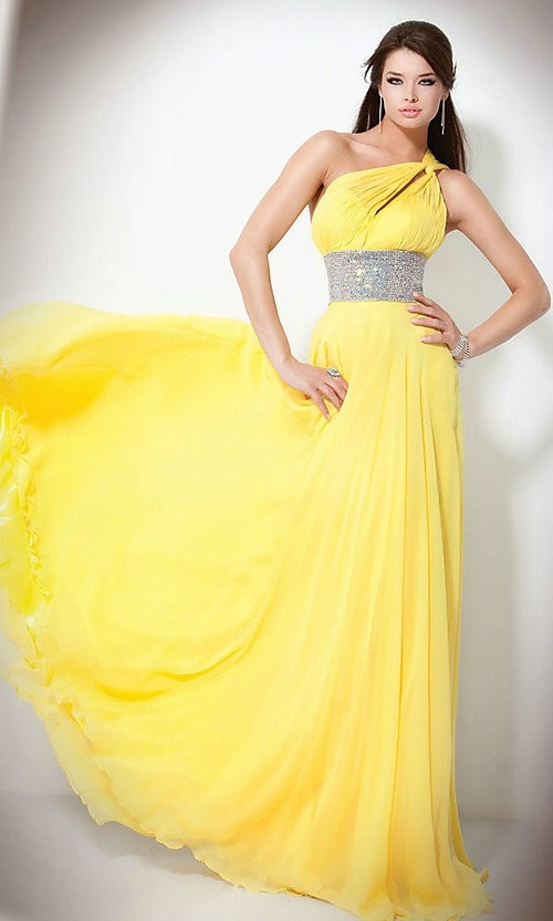 Cheap Free Shipping Custom-made A-Line Beautiful One-shoulder Floor Length Paillette Backless Evening Dresses 2013 at Weddingdressunion.com