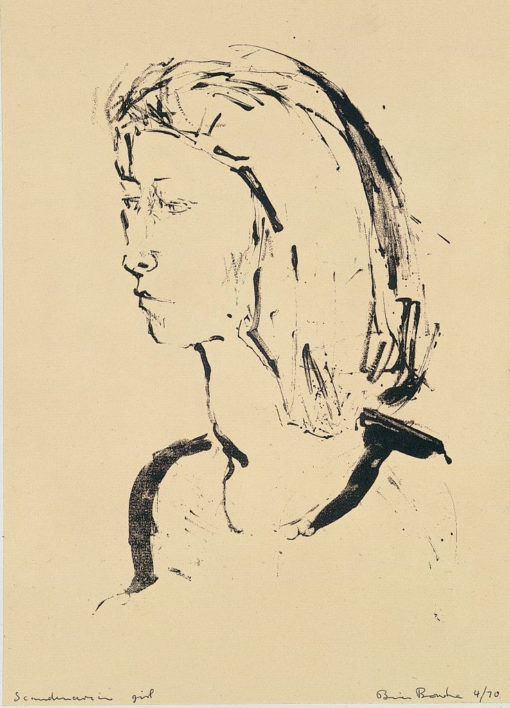 Scandinavian Girl, Brian Bourke, Lithograph, on loan from the Waterford Municipal Art Collection.Selected by Bronagh Kelly.