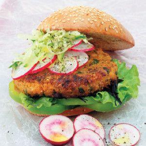 Veggie Burgers with Radish and Cucumber #Dinner #Recipe #Burgers #SouthAfrica