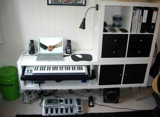 For those who have need for a music studio of any kind in their home, you're probably aware that the equipment and gear takes up a ridiculous amount of space and usually — isn't very attractive! Well, where there's a will there's a way, check out the well designed set up that makes the most of IKEA parts and a small space!