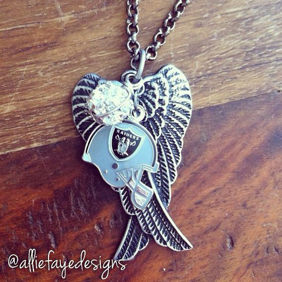 Black patina Angel Wings and Oakland Raiders Football Necklace by alliefayedesigns