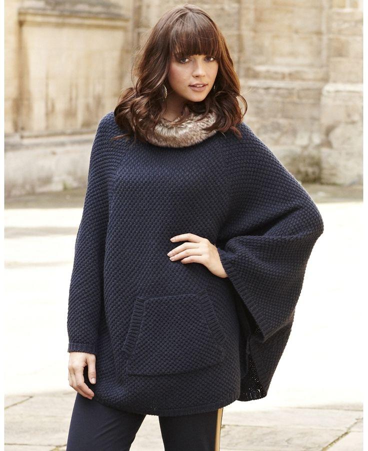 knit fur trim poncho