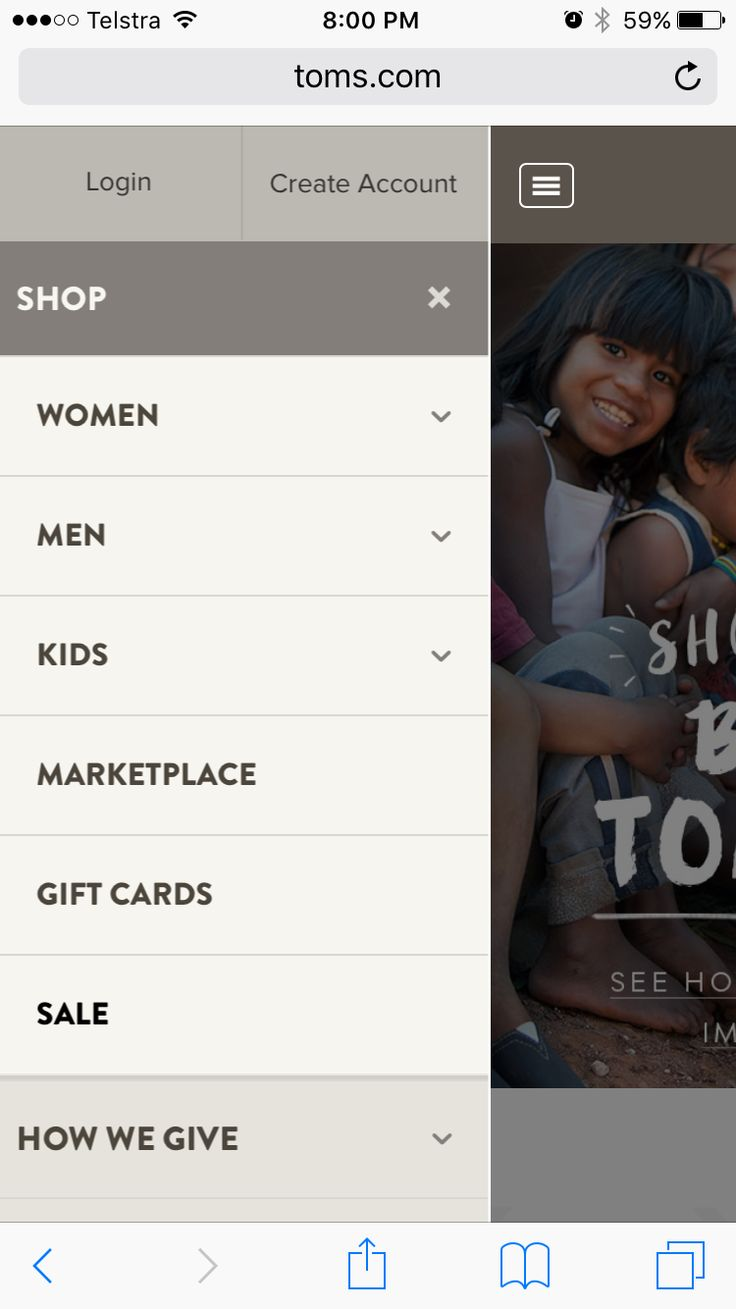 Hamburger basement. Login and Create Account buttons. Shop category expanded by default, subcategories shown.