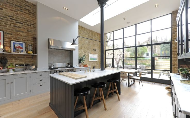 Inspiration - Victorian conversion kitchen, stove in chimney breast, marble worktops, island with sink...