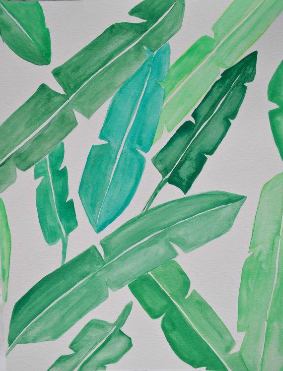 Hand Painted Watercolour Banana Leaf Wall Art by HeartsAndBloom