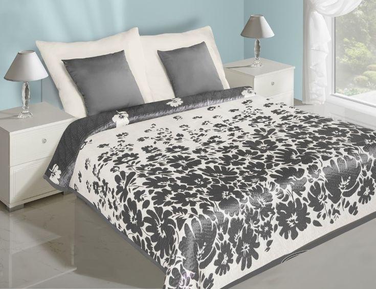 Bielo sivý prehoz na posteľ obojstranný s kvetmi