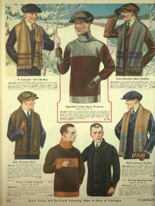 1920′s Mens Wool Knit Winter Sweaters - http://www.vintagedancer.com/1920s/1920s-mens-sweaters/