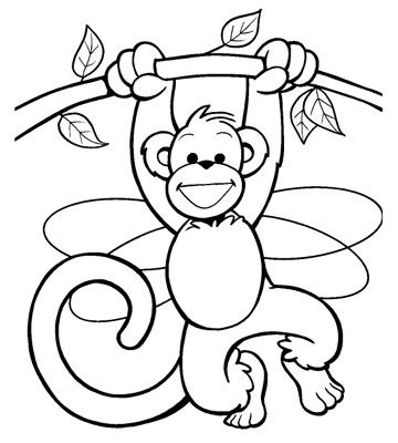 Monkey in a Tree, free animal coloring pages for kids, they have fairies and pirates on the BHG page too
