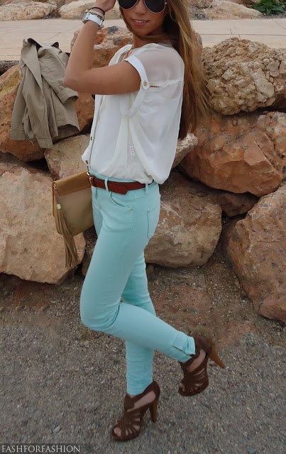 really cute mint jeans