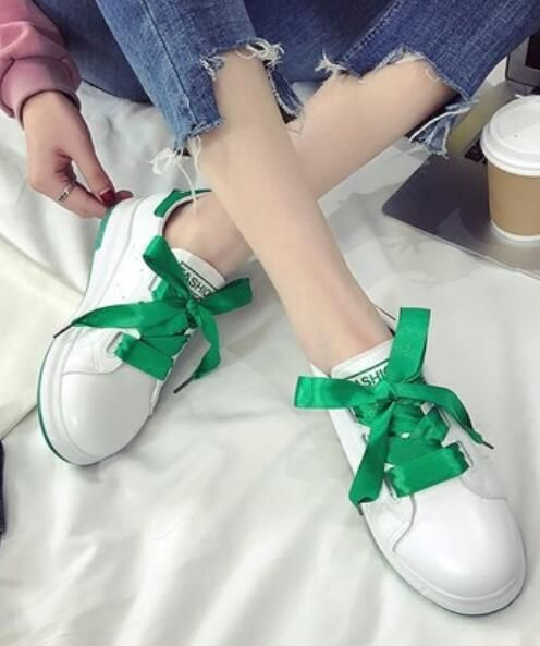 Womens Girls Lace Up White Sneakers Thicken Heels Round Toe Running Shoes I241