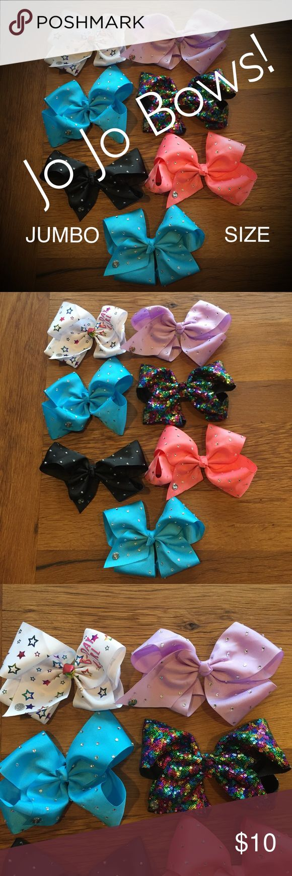 🎀Jo Jo Bows, JUMBO SIZE, Various colors. These are the large jo jo siwa bows that all the cheerleaders and dancers are wearing! Originally bought at Claire's or Justice for $15 each. Only worn a few times. Excellent like-new! Jo Jo Siwa Accessories Hair Accessories