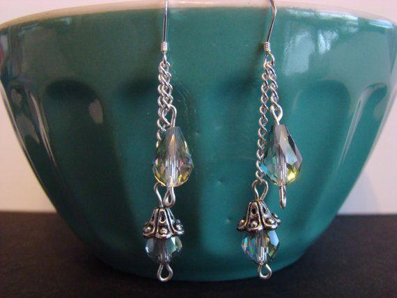 Chain and Crystal Dangle Earrings by KraftsByKeller on Etsy, $9.00