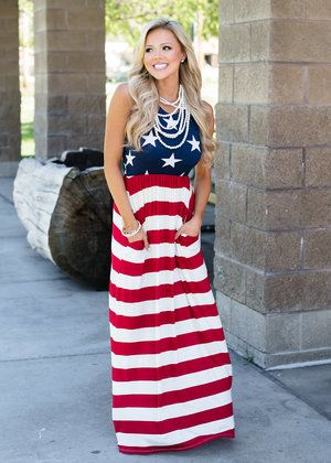 6b021bed92a1 Can't You See Maxi Dress Red/White/Blue | My Wish List | Flag dress ...