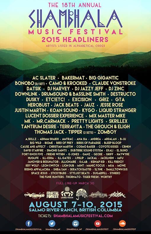 Shambhala Music Festival 2015 Lineup