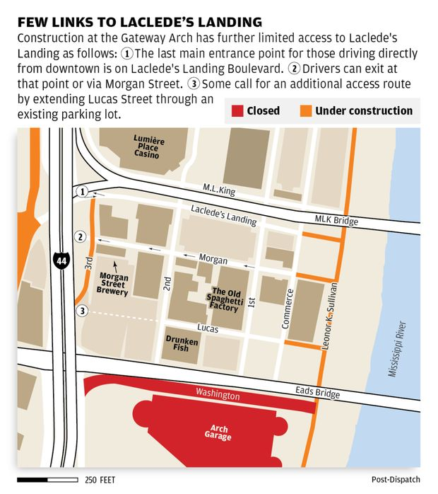 Laclede's Landing struggles to survive roadwork, time, and the Arch grounds renovation