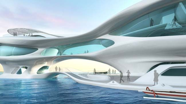 Marine Research Center is a futuristic archtiecture that designed by Solus4 and located in Bali, Indonesia. It's represents a new typology for stationary in-water projects reached by boat
