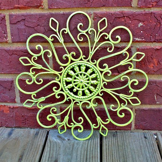Metal Wall Decor /Lime Green /Distressed Patio Decor /Painted Bright  /Outdoor Up