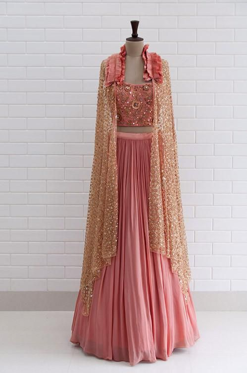 7116554353611b CLARISSA : Canyon Clay Ruffled Jacket with blouse and lehenga ...