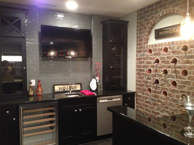 Awesome Basement Wet Bar; Love The Holes In The Brick Wall For Wine
