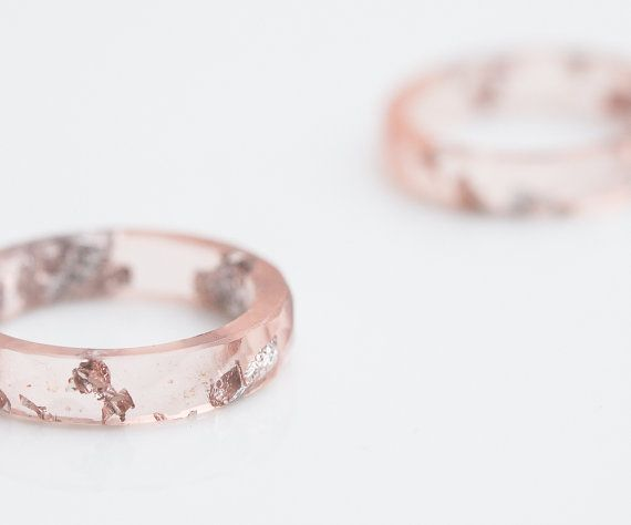 Nude Blush Pink Resin Ring Stacking Ring Silver Flakes Faceted Ring OOAK pastel…