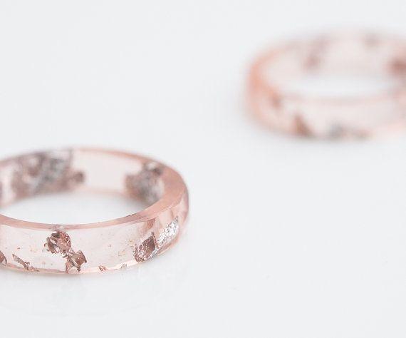 Nackte Blush Pink Harz Ring Stacking Ring Silber Flocken