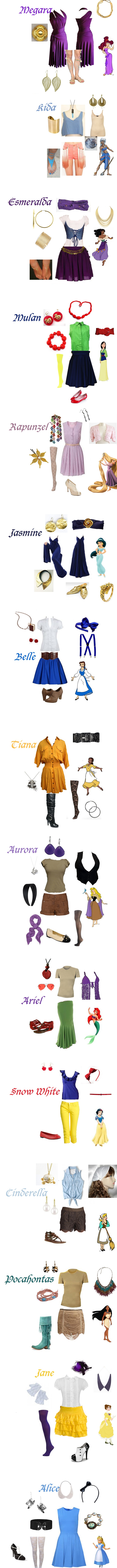 Modern day Disney princess outfits