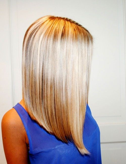 Such a pretty long inverted bob, love the color. but I could never go that blonde!