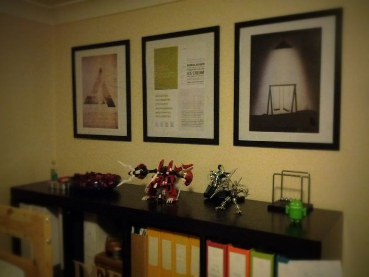 IKEA A2 Frames for postesr. Pictures (from left): Abstergo (game reference), Roboto (favourite font), Limbo (favourite game)
