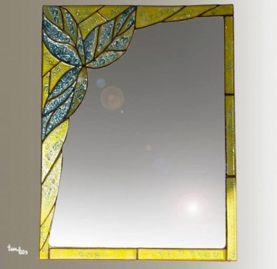 espejo hojas_taller de vidrio tintes  vidrio fundido; fusing,colores para vidrio,cinta de plomo estañada tiffanys