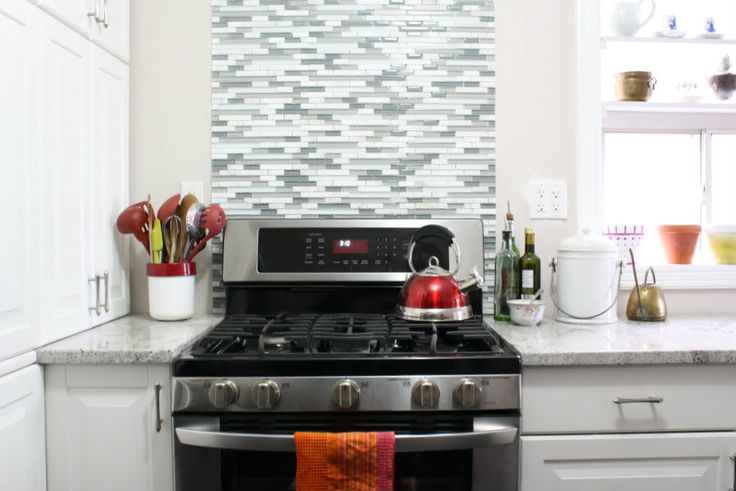 tile behind the range only - via This Dusty HouseHouse Pinnable, Dusty House, Blue Tile, Kitchens Backsplash, Red Accent, White Kitchens