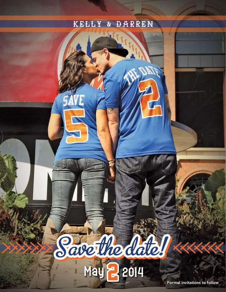 our save the date baseball wedding mets citi field sports save