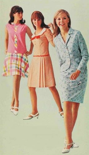 1967 dresses orange , blue, pink