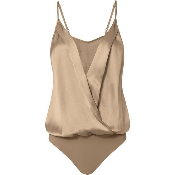 Michelle Mason Silk Cami Cross Front Bodysuit (€295) ❤ liked on Polyvore featuring intimates, shapewear, bodysuit, tops and beige