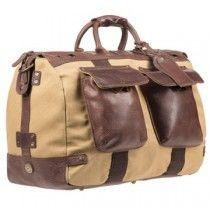 Будет ли изделия из кожи мужского Конструктора Путешественника сумка Duffle, Тан Холст и коричневая кожа