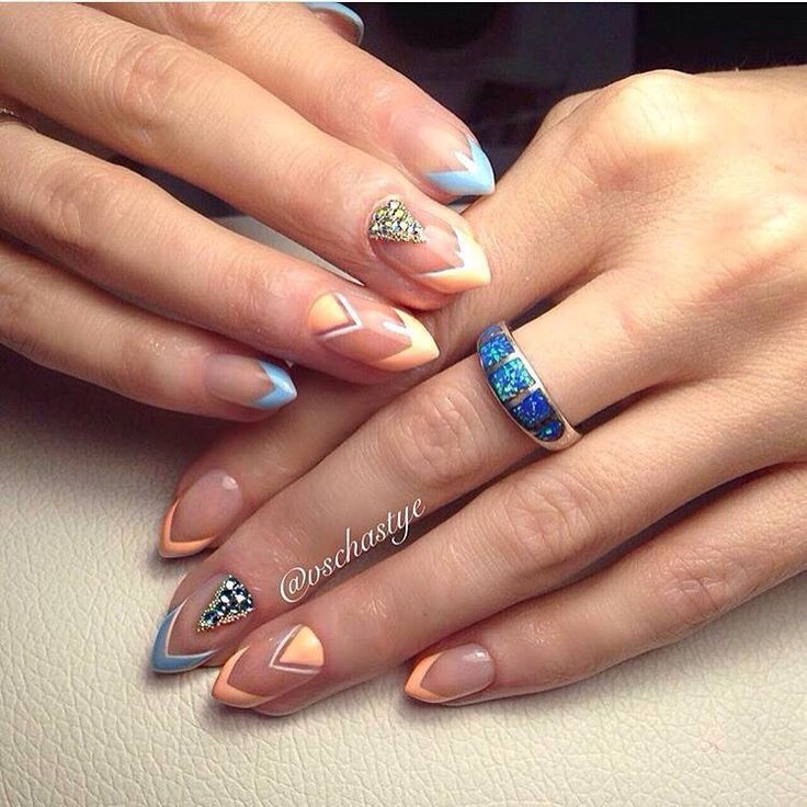 Drawings on nails, Evening nails, Manicure by summer dress, Multi-colored french manicure, Original nails, Sharp nails, Summer colorful nails, Trendy colorful nails