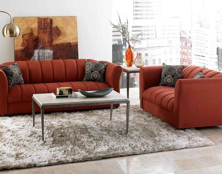 Furniture:Discount Living Room Sets Orange Sofa Cushions Standing Lamp Vase  Wooden Table Carpet Window