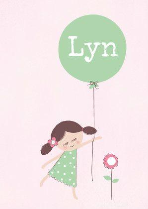 Lief en zoet geboortekaartje in pasteltinten. Illustratie van een lief meisje…