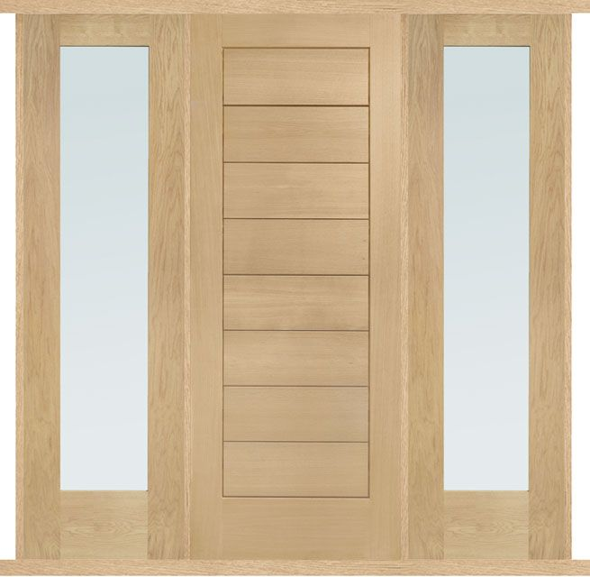 Modena Oak External Double Side Panel Door Set External Modena door set with two side panels supplied in unfinished Oak (engineered construction with solid timber core and Oak veneer). The door has solid timber panelling and side panels are pre-glazed with double glazed, obscured toughened glass units. Door set is supplied for self assembly on site (pre-hanging not available) - trimming may be required. Covered by a conditional 10 years guarantee - subject to correct installation and…