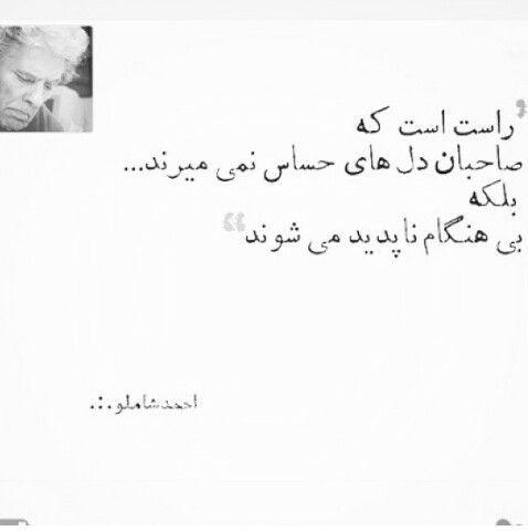 راست است که صاحبان دلهای حساس نمیمیرند بلکه بی هنگام ناپدید می شوند -احمد شاملو ahmad shamloo