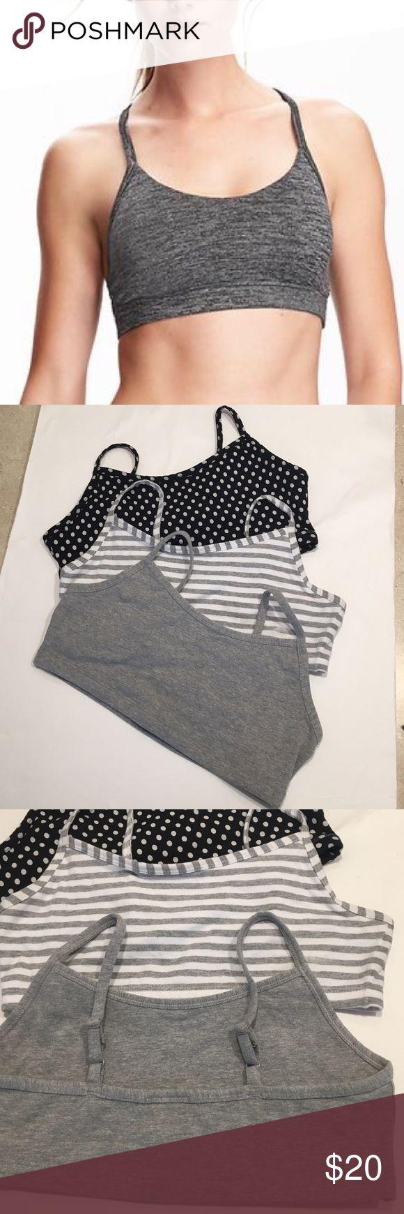 OLD NAVY, 3 Cami Light Support bra's Size M NWOT , OLD NAVY Cami light sport bra, set of 3, machine washable, 96% polyester, 4% spandex Old Navy Intimates & Sleepwear Bras