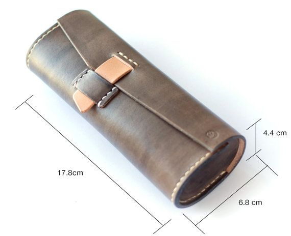 genuine leather eyeglass case collar box glasses case by SeanSeanC