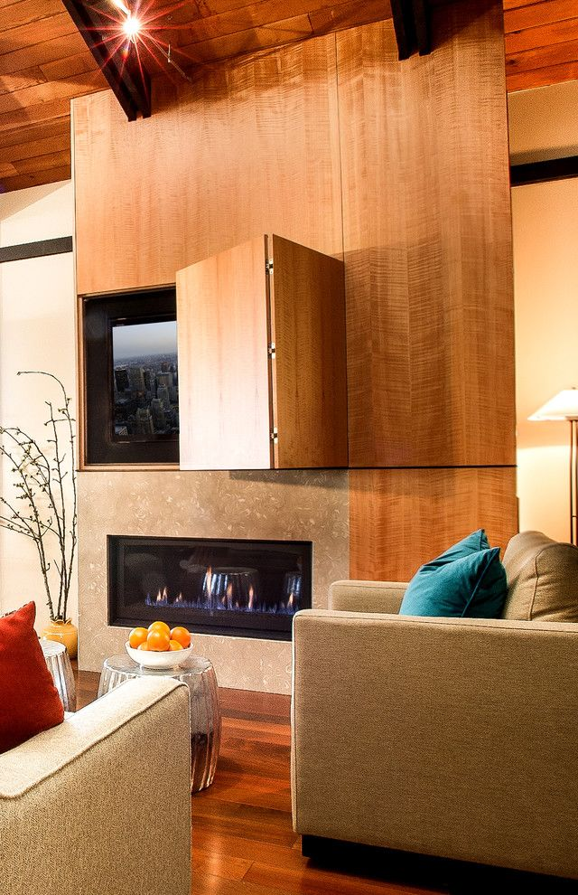 fire places & hidden TV, wood panels-Cool concept but a TV should NEVER be put above a fireplace. It voids all warranties for the TV and the heat will basically destroy the TV. I do like the hidden TV concept.