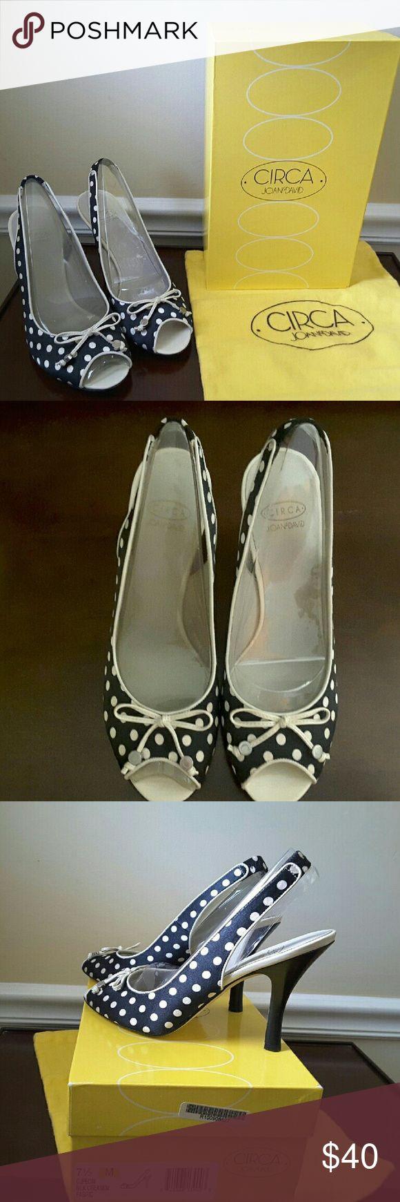 "Circa Joan & David peep toe heels Beautiful, brand new Circa Joan & David peep toe, sling back 3"" heels.  Black and white polka dots. Size 7.5. Box and dust bag included. Joan & David Shoes Heels"