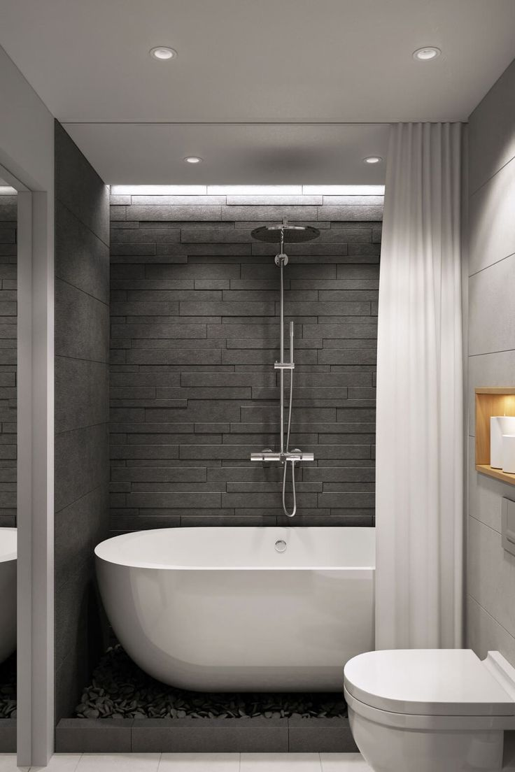 Great solution to having both a tub and shower in the guest bathroom.